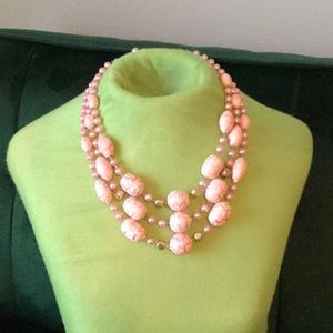 ✨60s✨ Gorgeous Pink Vintage 3 Strand Necklace